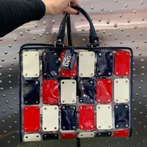 D&G BIG PVC Red, White, Blue Patent Leather Tote!